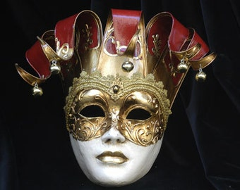 Joker Mask - Jester Masquerade Mask - Full Face Venetian Mask Gold and Red/Gold and White-  home decor, interior design mask F29/F30