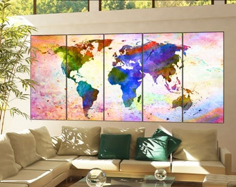 Wall Art World Map Print On Canvas Wall Art World Map Print Decor Artwork Wall Art