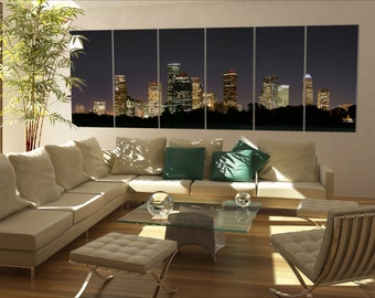 6 panels / boards a night panoramic of downtown houston Large panorama panoramic canvas wall art art