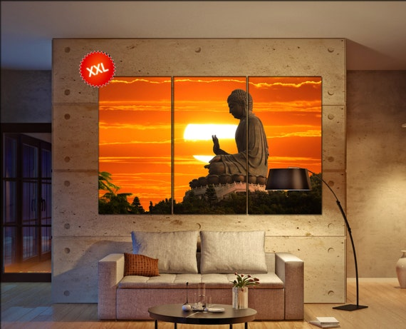 Buddha  print  on canvas wall art Buddha statue over scenic sunset photo art work framed art artwork
