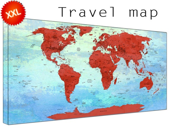 pin map canvas wall art art print large  pin map with countries home Office Decor print on canvas wall art pin map