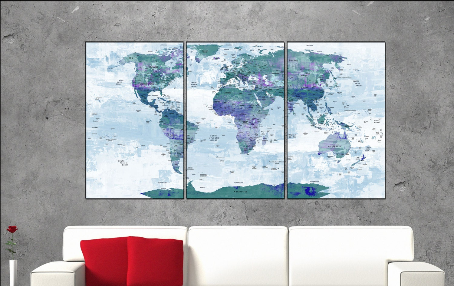 Travel map canvas art print large wall art Travel map with