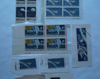 Lot of Vintage 1960s Astronaut Space NASA Moon Landing Postage Stamps Uncerculated and Cerculated NICE!