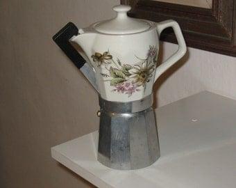 Italian coffee maker/ vintage coffee maker/espresso coffee maker/ faience coffee maker