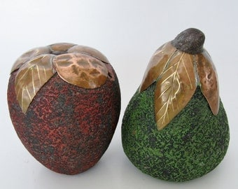 Large Textured Fruits, Pair