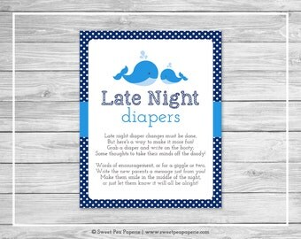 Whale Baby Shower Late Night Diapers Sign - Printable Baby Shower Late Night Diapers - Blue Whale Baby Shower - Diapers Sign - SP127