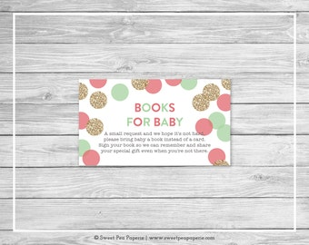 Mint and Coral Gender Reveal Book Instead of Card Insert - Printable Gender Reveal Books for Baby - Coral Mint Gold Gender Reveal - SP132