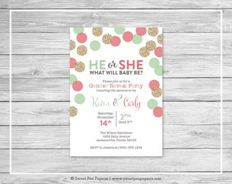 Mint and Coral Gender Reveal Party Invitation - Printable Gender Reveal Invitation - Coral Mint Gold Gender Reveal - Invitation - SP132
