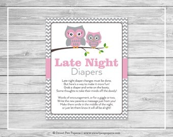 Owl Baby Shower Late Night Diapers Sign - Printable Baby Shower Late Night Diapers - Pink Owl Baby Shower - Late Night Diapers Sign - SP134