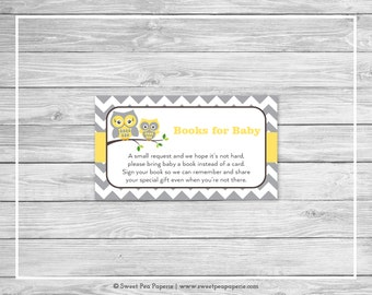 Owl Baby Shower Book Instead of Card Insert - Printable Baby Shower Books for Baby - Yellow Owl Baby Shower - Books for Baby - SP133