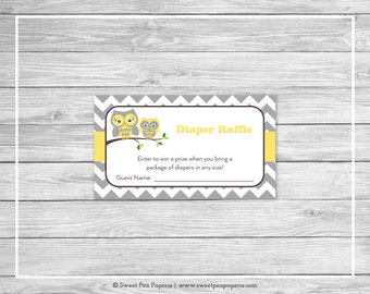 Owl Baby Shower Diaper Raffle Insert - Printable Baby Shower Diaper Raffle Cards - Yellow Owl Baby Shower - Owl Diaper Raffle Cards - SP133