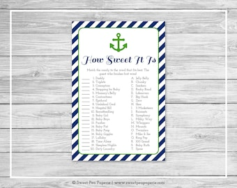 Nautical Baby Shower How Sweet It Is Game - Printable Baby Shower How Sweet It Is Game - Navy Green Baby Shower - How Sweet Game - SP120
