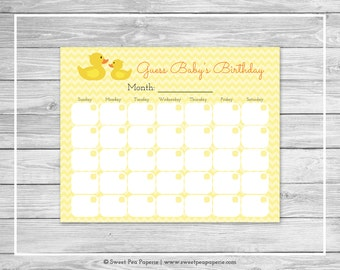 Rubber Ducky Baby Shower Guess Baby's Birthday - Printable Baby Shower Guess Baby's Birthday - Rubber Duck Baby Shower - SP121
