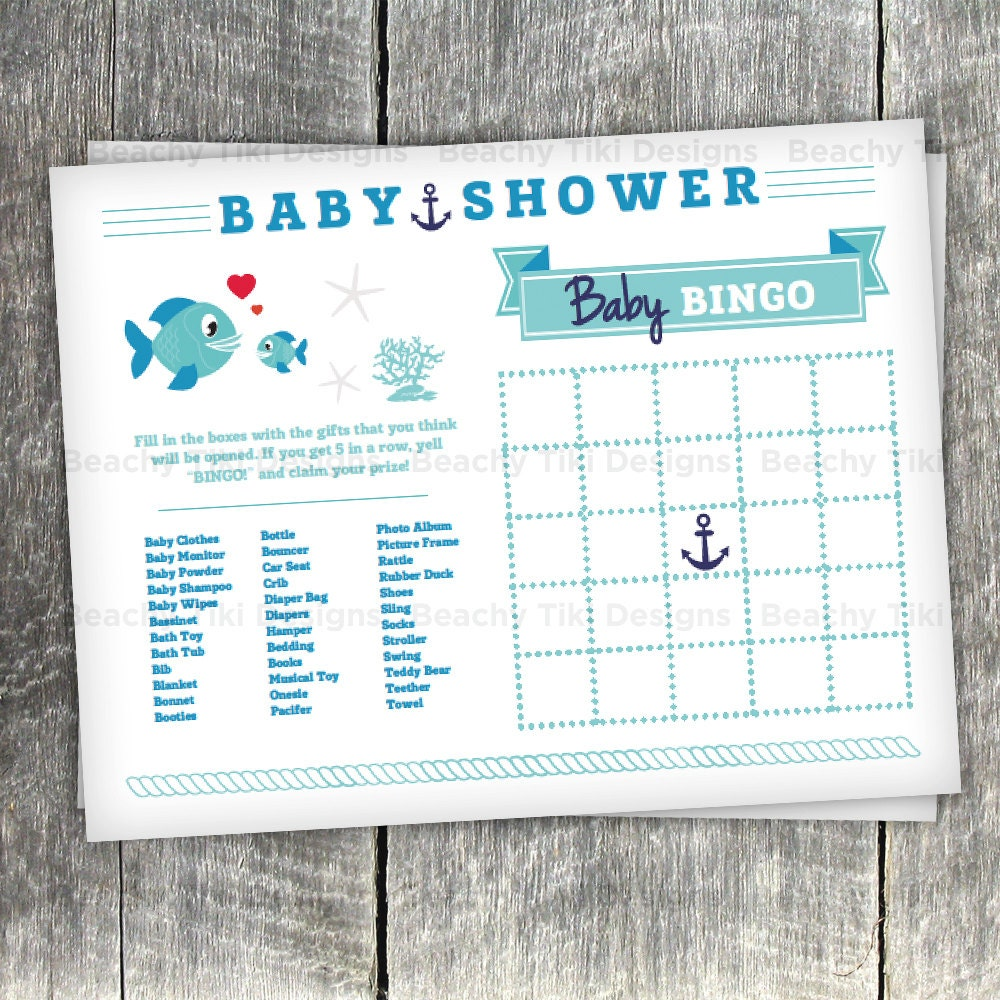 Baby Shower Games: Nautical Baby Shower Games With Bingo And Baby Animals