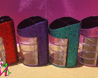 Glitter Office Supply Organizer, (7 Compartments), (Plastic), (Your Choice of Color), Desk Organizer, Glitter Desk Organizer