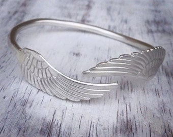 Angel Wing Cuff Bangle. Sterling Silver