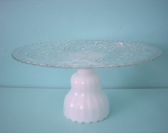 Wedding Cake Plate/Cupcake Stand/Dessert Pedestal/Cupcake Stand  Milk Glass 13 Inch