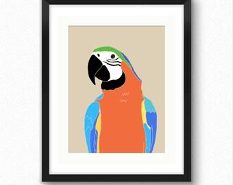 Parrot print, bird art, jungle nursery, nurser wall decor, art for kids, children wall decoration, bird poster