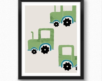 Tractor prints, tractor gifts, transportation print, nursery decor, toy cars wall art, kids room decor,
