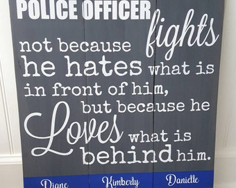 Personalized police officer pallet sign - police officer gift - law enforcement - police - police wall art - thin blue line - wall art -sign