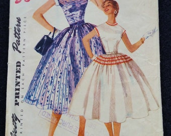 Sewing Pattern, Simplicity Size 32 Bust 34 Hip Number 1196 One Piece Dress 1950s Rockabilly Full Circle Skirt Mid Century Fashion Size 12