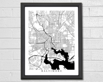 Baltimore Map Art - Map Print - Black and White Print - Maryland - Hometown- Home Decor - Personalized - Custom - Travel Gift Housewarming