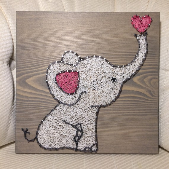 Custom Baby Elephant String Art Sign Love Art Handmade