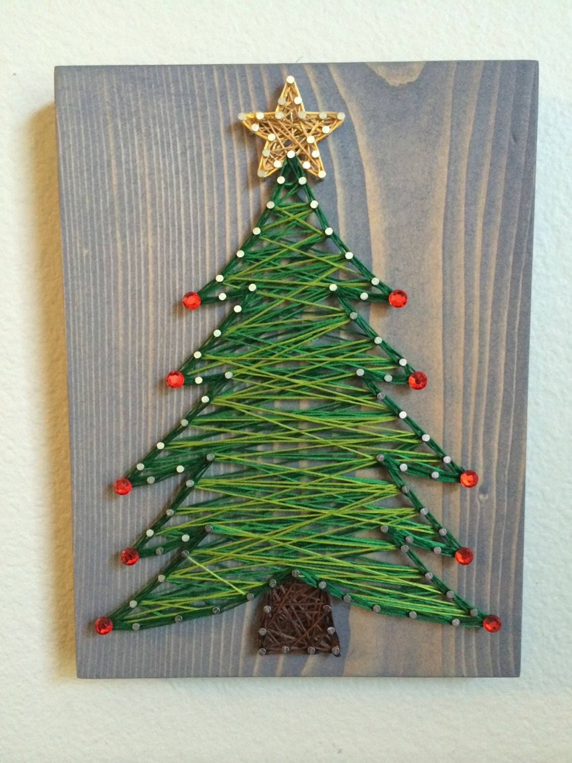 custom christmas tree string art winter wall art holiday. Black Bedroom Furniture Sets. Home Design Ideas