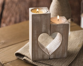 Wooden candle holders Rustic candle holder Wood hearts Mothers Day gift Mom Decorative tealight candles Wedding gift ideas Home decorations