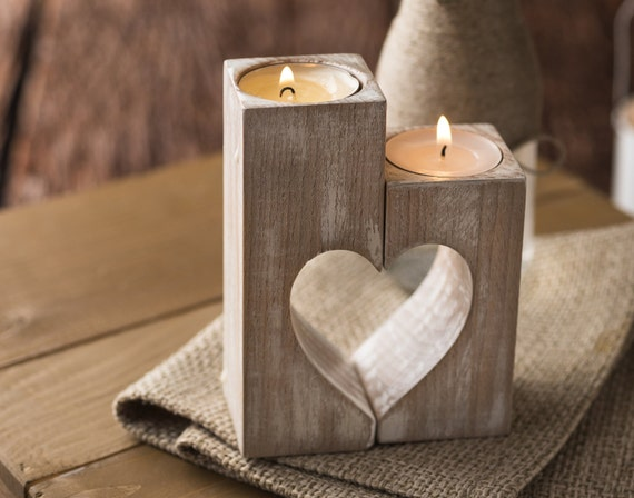Wooden candle holders Rustic candle holders Wood hearts Christmas family gift Decorative tealight candles Wedding gift ideas Home decoration