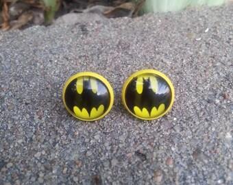 Yellow Batman Stud Earrings Nickel Free Studs