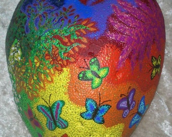 Dot painting stone TRANSFORMATION of lovingly hand-painted River pebbles, weatherproof and UV-resistant, 23 cm