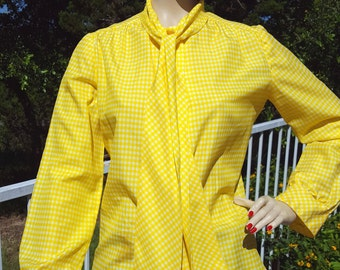 60's PROPHESY Yellow Checkered Tie Blouse
