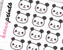 ON SALE A143 | Panda Keenda Faces Repositionable Stickers Perfect for Erin Condren Life Planner, Filofax, Plum Paper & other planner or scra