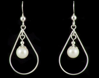 Sterling Silver Pearl Drop Bridal Earrings, Wedding Earrings, Dangly Pearl Earrings, Pearl Drop Earrings