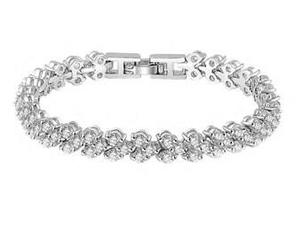 Cubic Zirconia Bracelet,  Bridal Bracelet, Bridesmaid Bracelet, Clear CZ Wedding Bracelet, Bridal Jewelry, Sparkly Roman Link Bracelet, UK