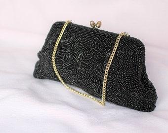 Black bag. Vintage bag purse. Evening beautiful clutch..