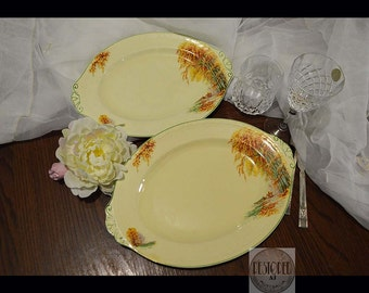 "Vintage Serving Plaatters by J G MEAKIN ""AUTUMN GOLD"" 391413 mid century England Sunshine Sol Ware,au,KT0008"