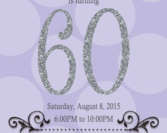 Purple and Silver 60th Birthday Invitation, Digital or Printed