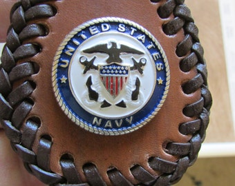 Brown Leather Key Fob with Brown Lace showing the Double Loop Stitching showing the US Navy Emblem.