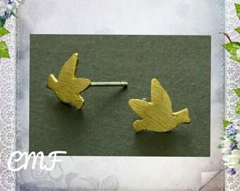 Bird Earrings Gold Earrings Stud Earrings Gold Bird Earrings (006)