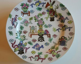 Set of 6 Hand Painted Plates: Chinoiserie Chic!
