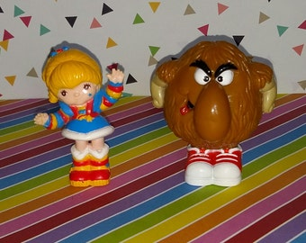 Vintage 1980s Rainbow Brite and Lurky PVC Figures - Old Store Stock