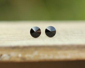 Small Jet Black Swarovski Crystal Earrings, Tiny Black Stud Earrings, Round Black Earrings, Sterling Silver Stud Earrings, Rivoli 6mm