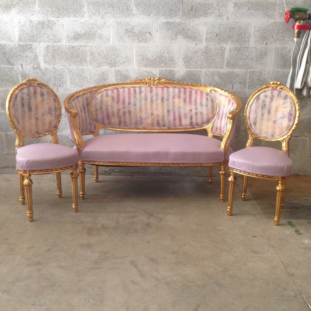 French Settee Antique Furniture French Louis Xvi 3 Piece