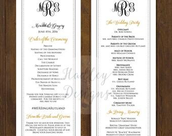 Southern Wedding Program, Modern Wedding Program, Black and White Wedding Program, Classic Wedding Program, Elegant Program