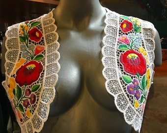 Hungarian handmade embroidered, scalloped bolero. Only made to order.