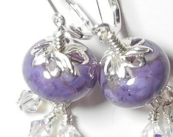 Purple Lampwork Earrings, Glass, Lampwork Earrings, Earrings, Purple Earrings, Handmade Earrings, beads,Beaded Earrings, Lampwork