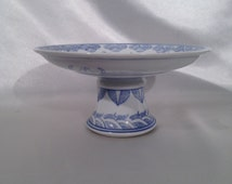 Vintage Chinese Blue & White Pedestal Serving Plate,Blue and White Bats good Fortune Serving Plate,Vintage Good Fortune Pedestal Plate