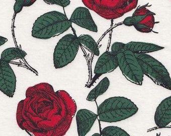 Red Rose flannel fabric 1 yard